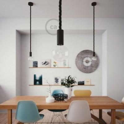 Lampe suspension en bois peint en noir avec corde 2XL en tissu noir brillant 24 mm, Made in Italy