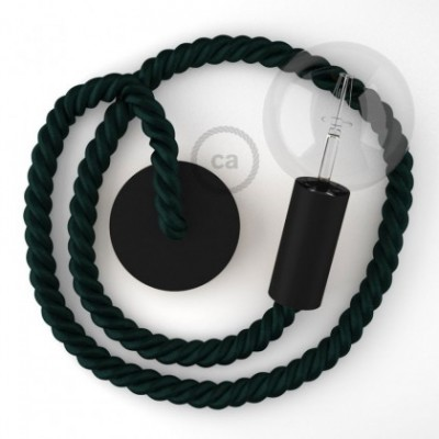 Hängelampe Tauseil 2XL Dunkelgrün schimmernd 24 mm mit schwarz Holzbaldachin und Fassung. Made in Italy.