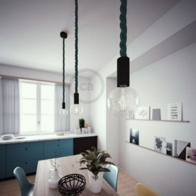 Lampe suspension en bois peint en noir avec corde 3XL en tissu vert foncé brillant 30 mm, Made in Italy