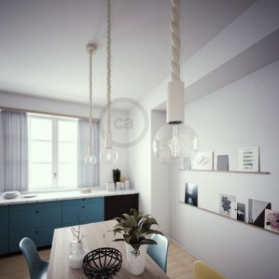 Lampe suspension en bois peint en blanc avec corde 3XL en coton brut 30 mm, Made in Italy