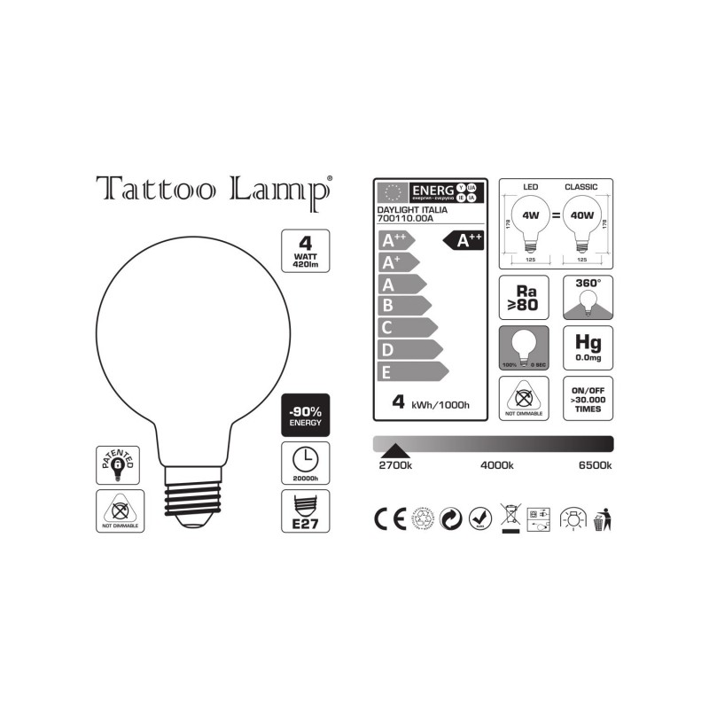 Ampoule LED Globe G125 Filament Court Version Tattoo Lamp® Modèle Cuore 4W E27 2700K