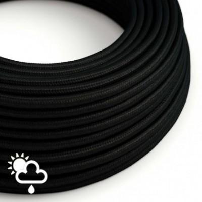 Elektrisches Textilkabel rund Seideneffekt schwarz SM04 für den Außenbereich.
