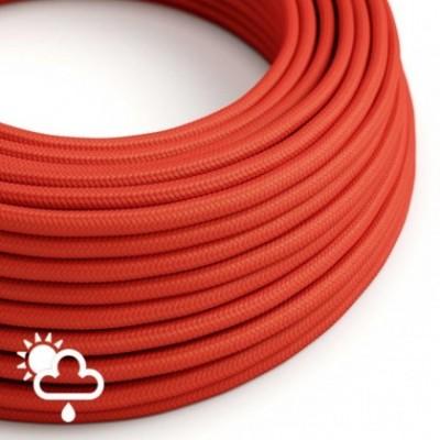 Elektrisches Textilkabel rund Seideneffekt rot SM09 für den Außenbereich.