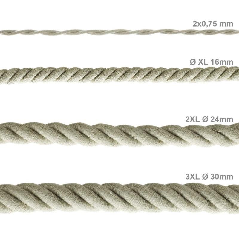 Elektrisches Tauseil 2XL 3x0,75 aus natürlichen Leinen. Durchmesser 24 mm