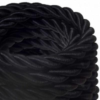 Cordone 2XL, cavo elettrico 3x0,75. Rivestimento in tessuto nero lucido. Diametro 24mm.