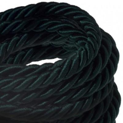 Cordone XL, cavo elettrico 3x0,75. Rivestimento in tessuto verde scuro lucido. Diametro 16mm.