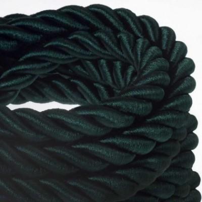 Cordone 2XL, cavo elettrico 3x0,75. Rivestimento in tessuto verde scuro lucido. Diametro 24mm.