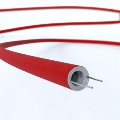 Creative-Tube, diametro 16 mm, rivestito in tessuto effetto Seta RM09 Rosso, canalina passacavi modellabile