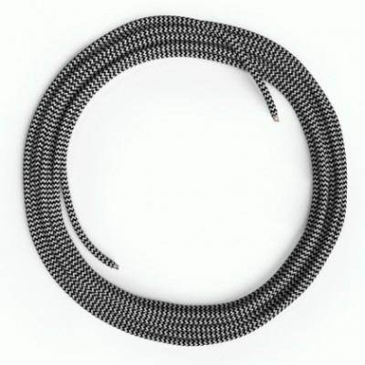 Câble Lan Ethernet Cat 5e sans connecteurs RJ45 - RZ04 Effet Soie Blanc Noir