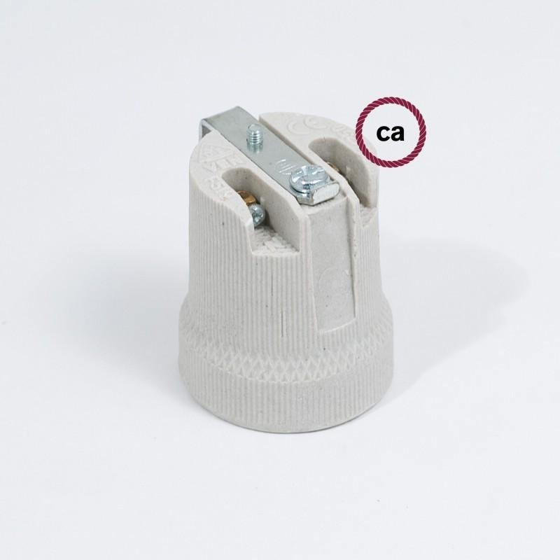 Kit portalampada E27 in porcellana con staffa interna