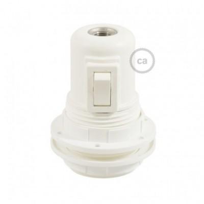 Kit douille E27 en thermoplastique avec écrou double bague pour abat-jour et interrupteur