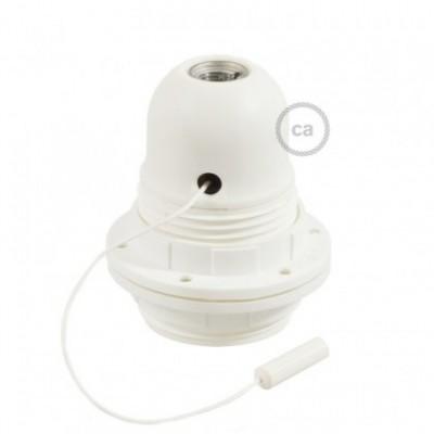 Kit douille E27 en thermoplastique avec écrou double bague et interrupteur à tirette