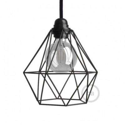 Diamantförmiger Lampenschirmkäfig aus Metall mit E27-Fassung