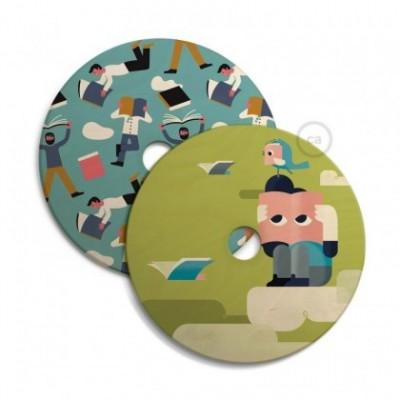 UFO abat-jour en bois réversible avec illustration par divers artistes, double face, diamètre 33 cm