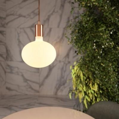 Lampada a sospensione con cavo tessile e finiture in metallo a contrasto - Made in Italy