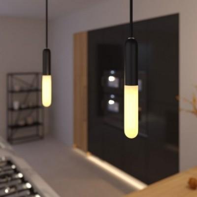 Lampada a sospensione con cavo tessile, portalampada E14 P-Light e finiture in metallo - Made in Italy