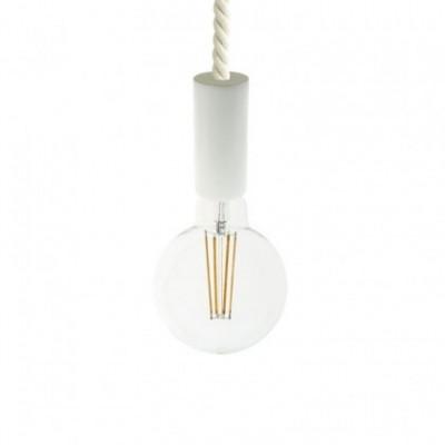 Lampada a sospensione con cordone nautico XL 16 mm con finiture in legno verniciato - Made in Italy