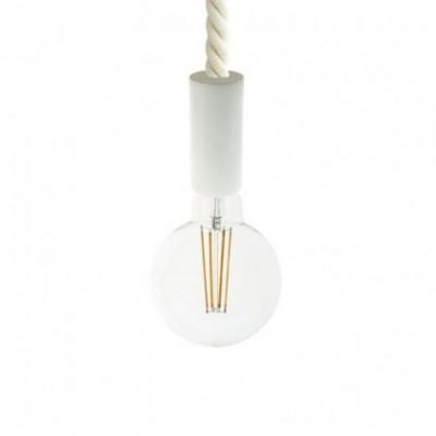 Lampada a sospensione con cordone nautico 2XL 24 mm con finiture in legno verniciato - Made in Italy
