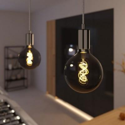 Lampada a sospensione con cavo tessile e finiture in metallo - Made in Italy