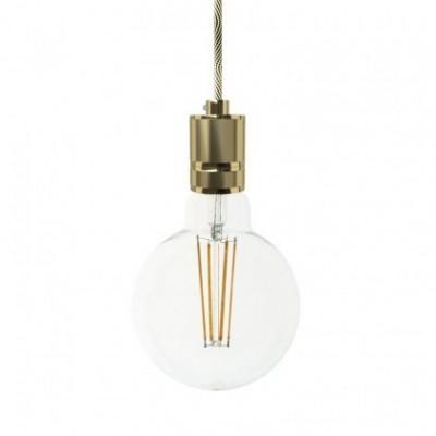 Lampada a sospensione con cavo tessile e portalampada in alluminio zigrinato - Made in Italy