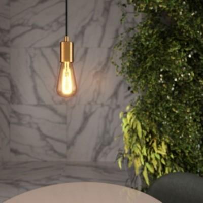 Lampada a sospensione con cavo tessile e finiture in metallo satinato - Made in Italy
