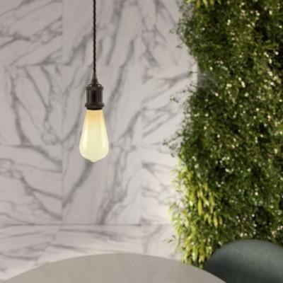 Lampada a sospensione con cavo tessile trecciato e portalampada in alluminio - Made in Italy
