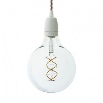 Lampada a sospensione con cavo tessile trecciato e finiture in porcellana bianca - Made in Italy