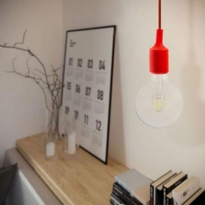 Lampada a sospensione con cavo tessile e finiture in silicone - Made in Italy