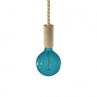 Lampada a sospensione con cordone nautico XL e finiture in legno - Made in Italy