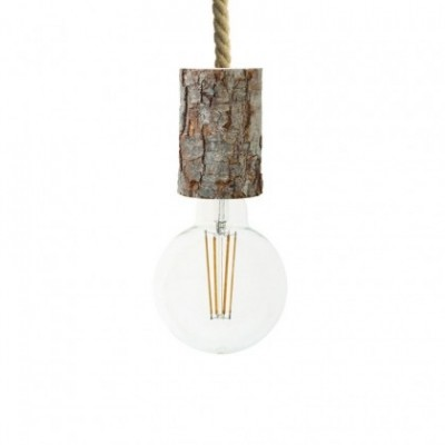 Lampada a sospensione con cordone nautico XL e portalampada in corteccia Small - Made in Italy