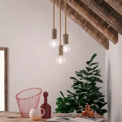 Pendelleuchte mit XL-Tauseilkabel und Rinden-Lampenfassung - Hergestellt in Italien