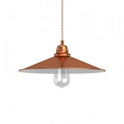 Lampada a sospensione con cavo tessile, paralume Swing e finiture in metallo - Made in Italy