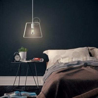 Pendelleuchte mit Textilkabel, Duedì Base Lampenschirm und Metall-Zubehör - Hergestellt in Italien