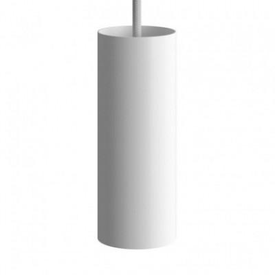Suspension avec câble textile, abat-jour Tub-E14 et finition en métal - Made in Italy