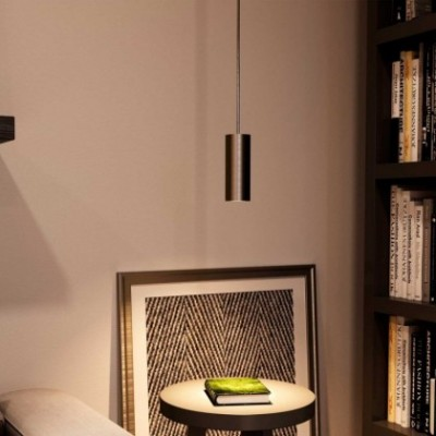Pendelleuchte mit Textilkabel, Tub-E14 Lampenschirm und Metall-Zubehör - Hergestellt in Italien