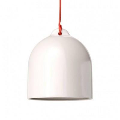 Lampada a sospensione con cavo tessile e paralume Campana M in ceramica - Made in Italy