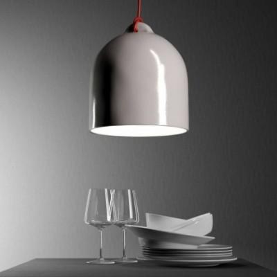 Suspension avec câble textile, abat-jour Cloche M en céramique - Made in Italy