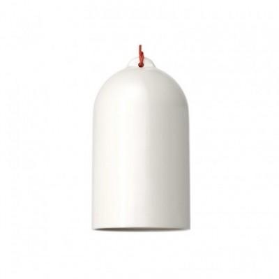 Pendelleuchte mit Textilkabel, glockenförmiger Lampenschirm XL und Metall-Zubehör - Hergestellt in Italien
