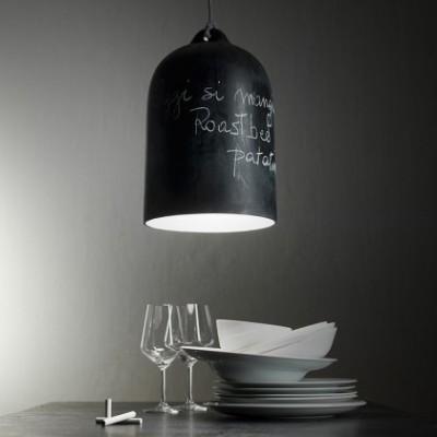 Lampada a sospensione con cavo tessile e paralume Campana XL in ceramica - Made in Italy