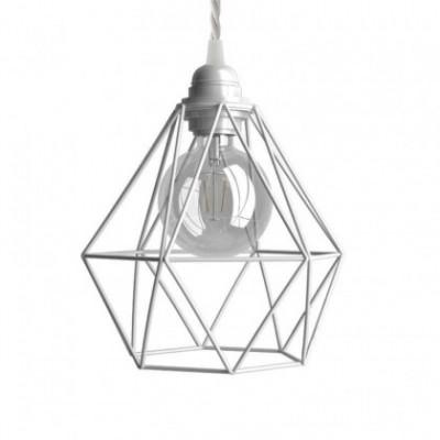 Lampada a sospensione con cavo tessile, paralume gabbia Diamond e finiture in metallo - Made in Italy