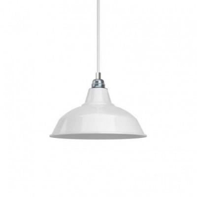 Suspension avec câble textile, abat-jour Bistrot et finition en métal - Made in Italy