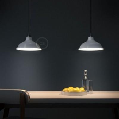 Pendelleuchte mit Textilkabel, Bistrot Lampenschirm und Metall-Zubehör - Hergestellt in Italien
