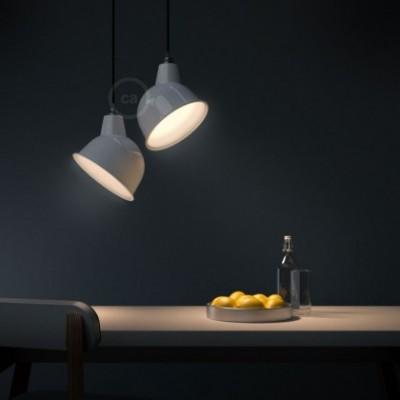 Pendelleuchte mit Textilkabel, Broadway Lampenschirm und Metall-Zubehör - Hergestellt in Italien