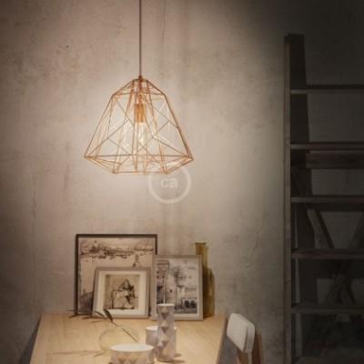 Lampada a sospensione con cavo tessile, paralume Apollo e finiture in metallo - Made in Italy