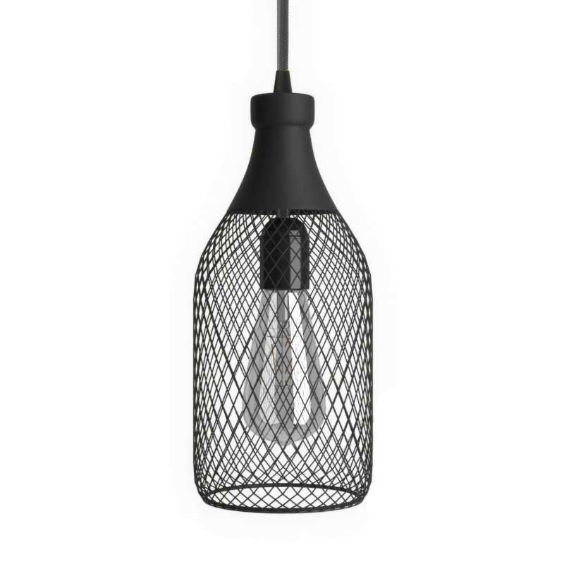 Suspension avec câble textile, abat-jour bouteille Jéroboam et finition en métal - Made in Italy