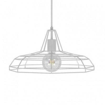 Suspension avec câble textile, abat-jour Sonar et finition en métal - Made in Italy