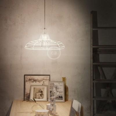 Lampada a sospensione con cavo tessile, paralume Sonar e finiture in metallo - Made in Italy