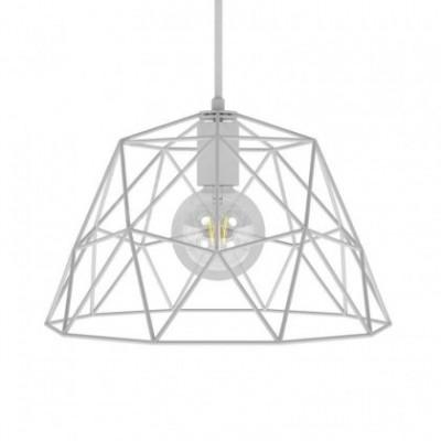 Suspension avec câble textile, abat-jour Dome et finition en métal - Made in Italy