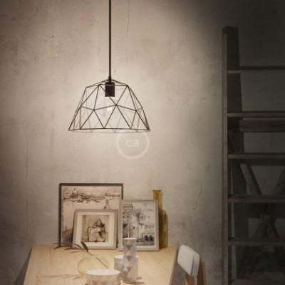 Lampada a sospensione con cavo tessile, paralume Dome e finiture in metallo - Made in Italy