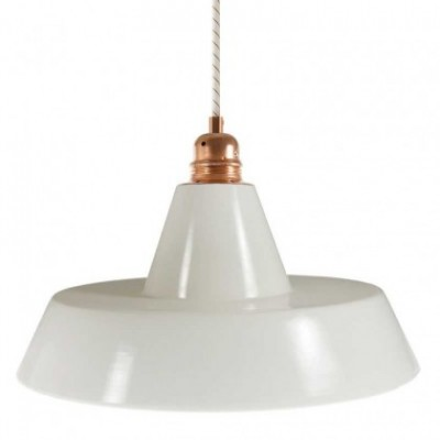 Lampada a sospensione con cavo tessile, paralume in ceramica Industriale e finiture in metallo - Made in Italy